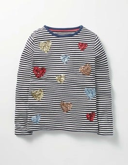 School Navy/Ecru Sequin Hearts Sequin Festive T-shirt