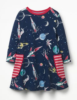 School Navy Space Printed Tunic