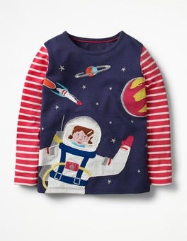 School Navy Space Girl T-shirt