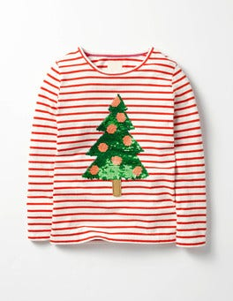 Ecru/Red Christmas Tree Festive Colour Change T-shirt