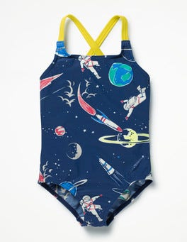 School Navy Space Cross-back Swimsuit