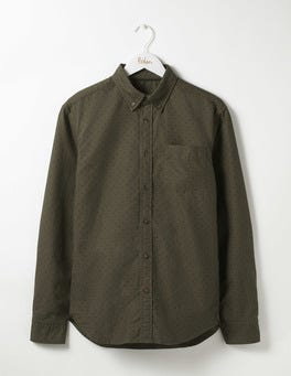 Stalk Green Spot Slim Garment Dye Oxford Shirt