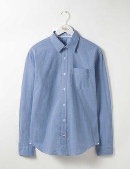 Winter Blue Mini Gingham Poplin Pattern Shirt