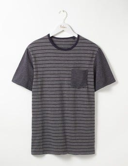 Grey Marl/Navy Colourblock Slub Stripe Crew