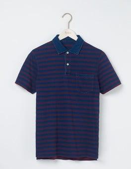 Indigo Textured Stripe Slub Polo
