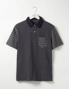 Navy/Grey Marl Colourblock Slub Polo