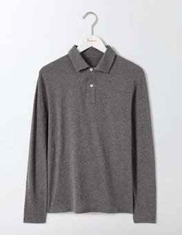 Charcoal Marl Long Sleeve Slub Polo