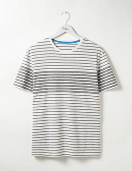 Grey Marl Engineered Stripe Washed Stripe T-shirt