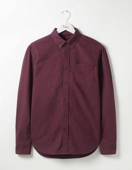 Blackcurrant Spot Garment Dye Oxford Shirt