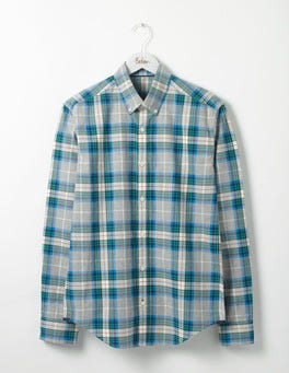 Grey Marl Multi Check Slim Fit Casual Pattern Shirt