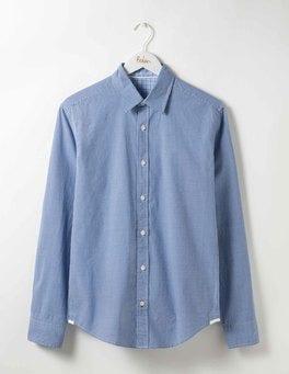 Winter Blue Mini Gingham Slim Fit Poplin Pattern Shirt