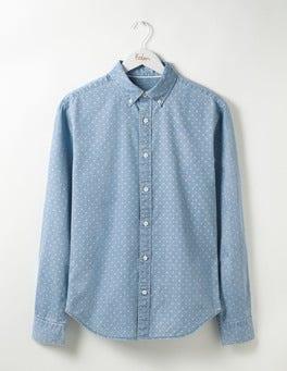 Slim Fit Printed Indigo Shirt