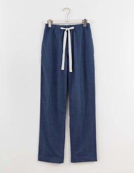 Blue Herringbone Brushed Cotton Pull-ons