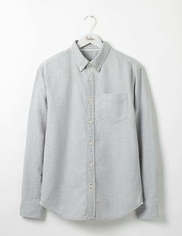 Grey Marl Mini Spot Slim Fit Oxford Shirt