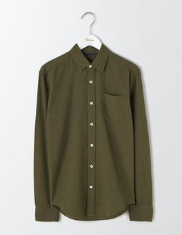 Dark Olive Linen Cotton Shirt