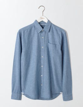 Washed Navy Linen Cotton Shirt