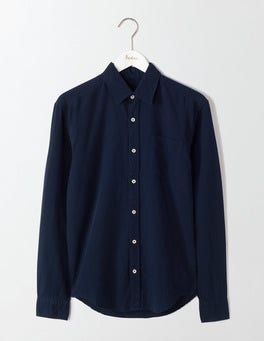 Navy Linen Cotton Shirt