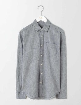 Navy Puppytooth Linen Cotton Pattern Shirt