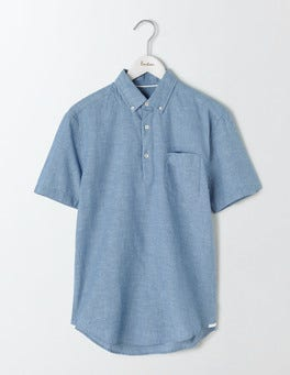 Washed Navy Linen Cotton Popover