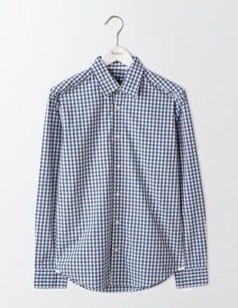 Blues Gingham Slim Fit Poplin Pattern Shirt