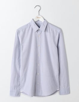 Fine Blue Stripe Slim Fit Poplin Pattern Shirt