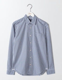Blues Gingham Poplin Pattern Shirt