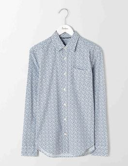 Blues Ditsy Floral Poplin Pattern Shirt