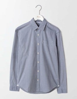 Navy Microgingham Poplin Pattern Shirt