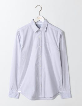 Fine Blue Stripe Poplin Pattern Shirt