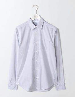 Fine Blue Stripe Poplin Pattern Shirt