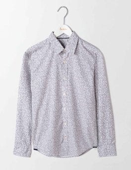 Ecru Linear Floral Slim Fit Printed Shirt