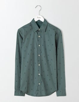 Heath Green Anchor Slim Fit Printed Shirt