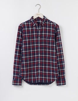 Navy Check & Spot Double Cloth Shirt