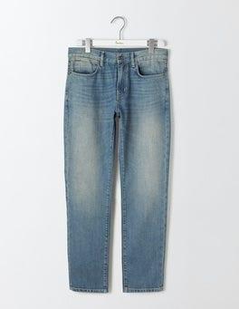 Heavy Wash Denim Straight Leg Jeans