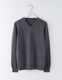 Grey Cashmere V-neck