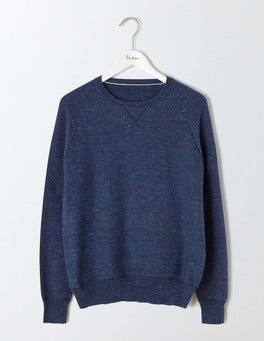 Bright Navy Slub Burnet Slub Crew Neck