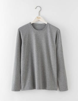 Grey Marl Long Sleeve Washed T-shirt