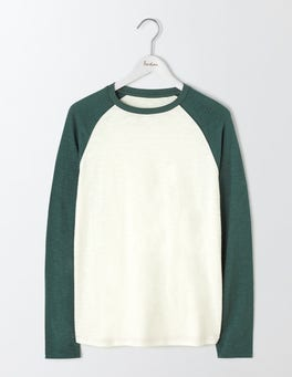 Ecru/Field Green Long Sleeve Slub Raglan