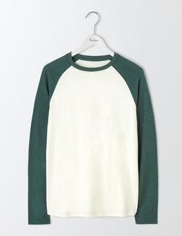 Ecru/ Field Green Long Sleeve Slub Raglan