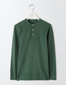 Field Green Long Sleeve Slub Henley