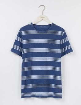 Washed Indigo Stripe Slub Stripe Crew