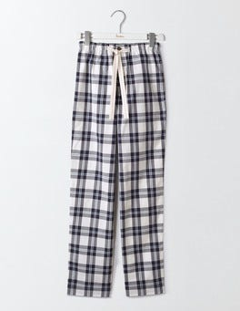 Ivory/Classic Navy Check Cotton Poplin Pull-ons