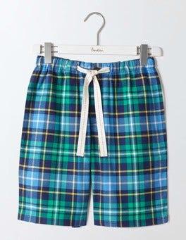 Green & Bateau Blue Check Brushed Cotton Lounge Shorts