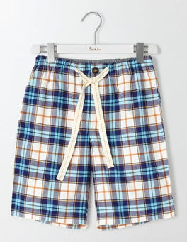 Ecru Multi Check Brushed Cotton Lounge Shorts