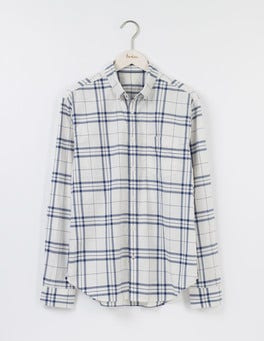 Ecru/ Royal Marine Check Casual Pattern Shirt