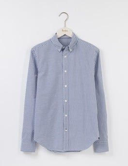 Beacon Blue Hotchpotch Stripe Slim Fit Casual Pattern Shirt