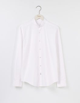 White Linen Cotton Grandad Shirt