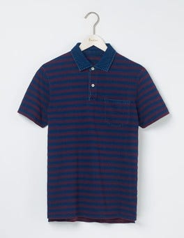 Indigo Textured Stripe Slub Polo