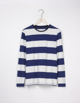 Royal Marine/ Ecru Long Sleeve Stripe T-Shirt