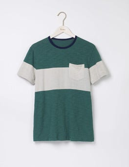 Field Green/ Ecru Slub Wide Stripe Crew